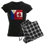 PI Flag & Canada Flag Women's Dark Pajamas