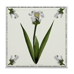 White Lily Tile Coaster
