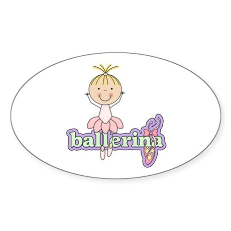 Blond Ballerina Sticker (Oval 10 pk)
