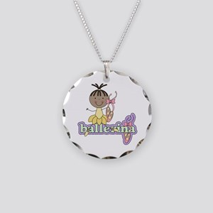 African American Ballerina Necklace Circle Charm