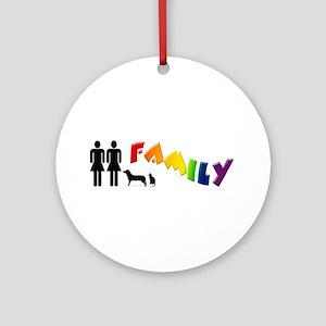 Lesbian Family Pride, Pets Ornament (Round)