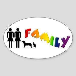 Lesbian Family Pride, Pets Oval Sticker