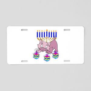 Hanukkah Dreidel Cat Aluminum License Plate