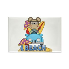 Monkey at Beach Rectangle Magnet (10 pack)