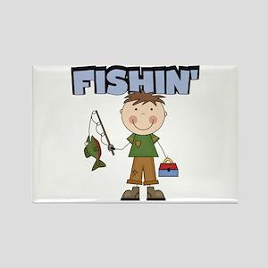 Stick Figure Boy Fishin' Rectangle Magnet