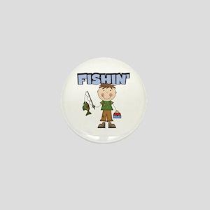 Stick Figure Boy Fishin' Mini Button