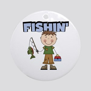 Stick Figure Boy Fishin' Ornament (Round)