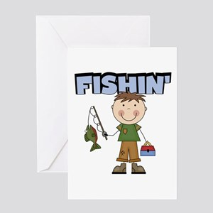 Stick Figure Boy Fishin' Greeting Card