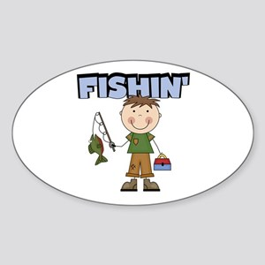 Stick Figure Boy Fishin' Sticker (Oval)