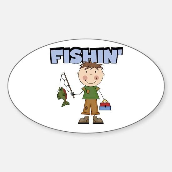 Stick Figure Boy Fishin' Sticker (Oval)