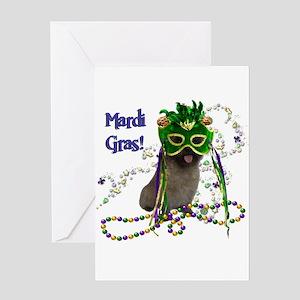 Mardi Gras Cairn Terrier Greeting Card