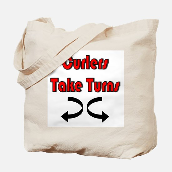 Curlers Take Turns Tote Bag