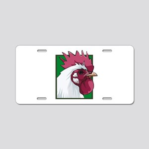 White Rooster Aluminum License Plate
