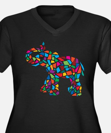 Abstract Elephant Women's Plus Size V-Neck Dark T-