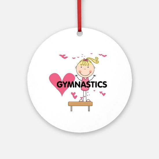 Blond Girl Gymnast Ornament (Round)