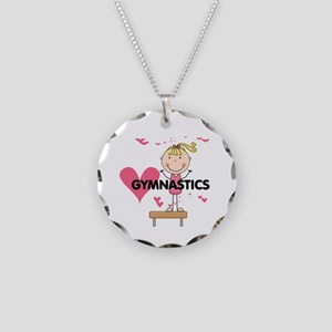 Blond Girl Gymnast Necklace Circle Charm