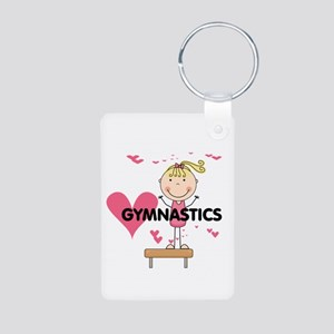 Blond Girl Gymnast Aluminum Photo Keychain