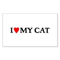 I LOVE MY CAT Sticker (Rectangle 50 pk)