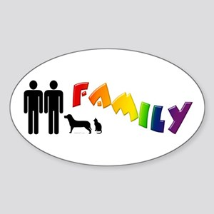 Gay Pride Family, Pets Oval Sticker