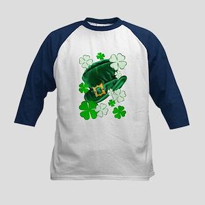 Green N Gold Shamrock Kids Baseball Jersey
