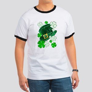 Green N Gold Shamrock Ringer T