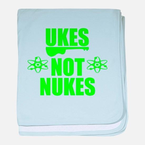 ukes not nukes baby blanket