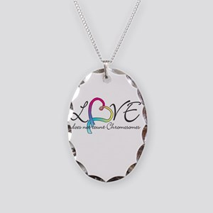 Love doesn't count Chromosome Necklace Oval Charm
