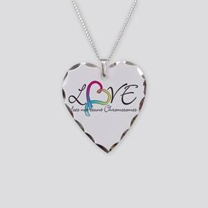 Love doesn't count Chromosome Necklace Heart Charm