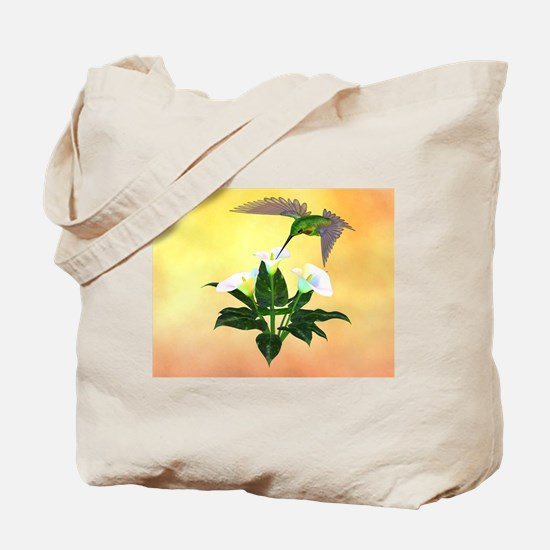 Hummingbird on Lily Tote Bag