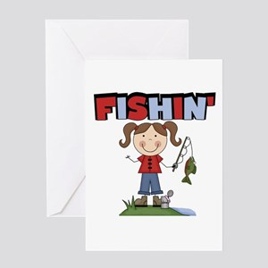 Stick Figure Girl Fishin' Greeting Card