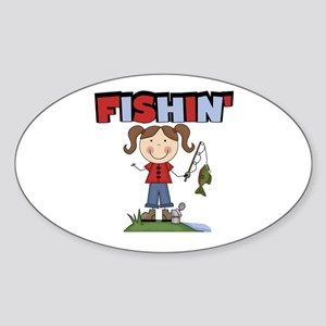 Stick Figure Girl Fishin' Sticker (Oval)