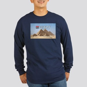 Giza Pyramids in Egypt Long Sleeve Dark T-Shirt