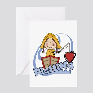 Girl Loves Fishing Greeting Card