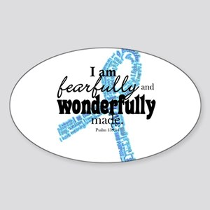 Fearfully made Blue ribbon Sticker (Oval)
