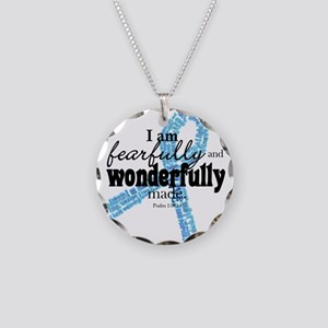 Fearfully made Blue ribbon Necklace Circle Charm