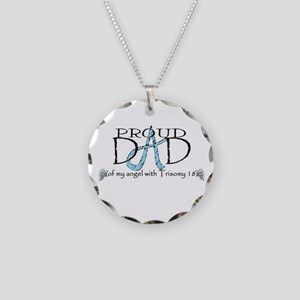 Proud T18 angel dad Necklace Circle Charm