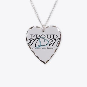 Proud T18 angel mom Necklace Heart Charm