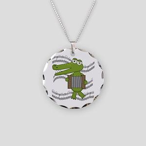 Crocodile With Accordion Necklace Circle Charm