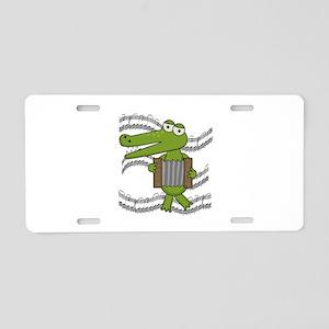 Crocodile With Accordion Aluminum License Plate