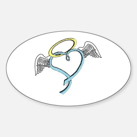 Winged blue angel heart Sticker (Oval)