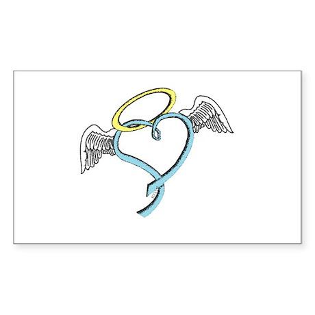Winged blue angel heart Sticker (Rectangle)