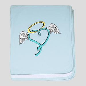 Winged blue angel heart baby blanket