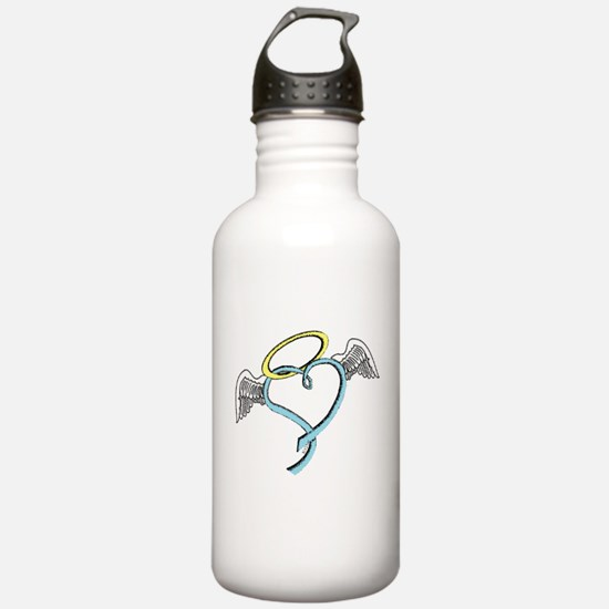 Winged blue angel heart Water Bottle