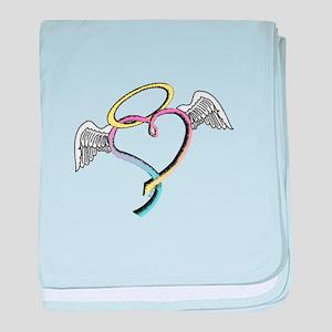 Rainbow angel heart baby blanket