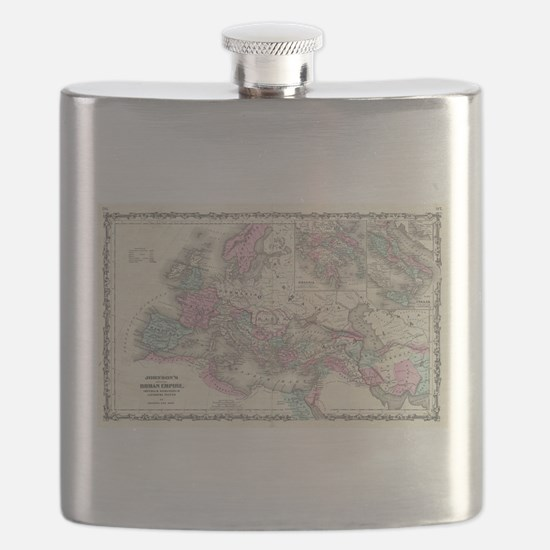 Vintage Map of The Roman Empire (1862) Flask