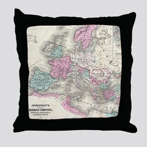 Vintage Map of The Roman Empire (1862 Throw Pillow