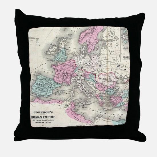 Vintage Map of The Roman Empire (1862 Throw Pillow