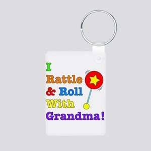 I Rattle & Roll With Grandma Aluminum Photo Keycha