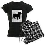 Bulldog Silhouette Women's Dark Pajamas
