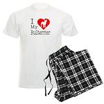 I Love My Bullterrier Men's Light Pajamas